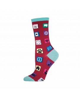 Носки Socksmith «Компьютерные иконки» малиновые