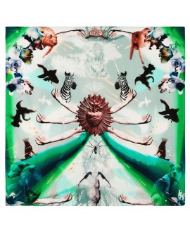 Платок Klements «Извержение», 140x140, шелковый шифон