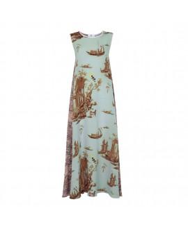 Платье Klements «Патти» с принтами «Проклятая цивилизация» и «Заброшенная деревня»