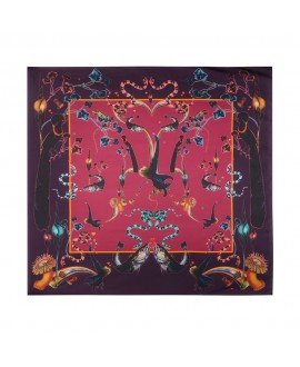 Платок Klements «Радужная форель» (винный), 90x90, шелк