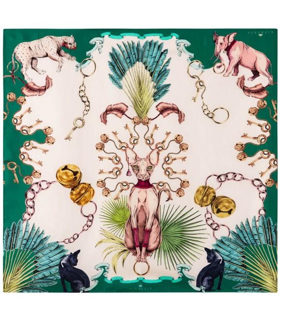 Платок Klements «Сфинкс», 140x140, шелковый шифон