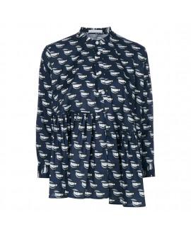 Блуза Peter Jensen с оборками и орнаментом в губы