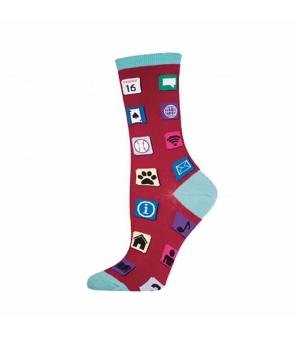 Женские носки Socksmith «Компьютерные иконки» малиновые