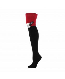 Чулки Socksmith «Французский бульдог» красные
