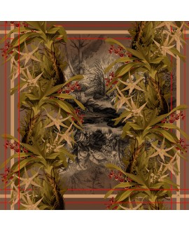 Платок Klements «Тропический лес», 140 х 140, шелк и хлопок