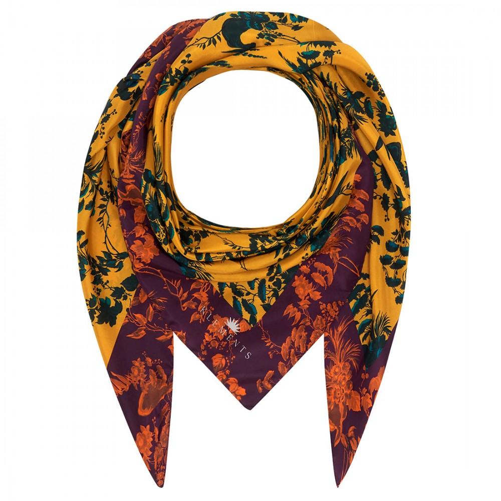 Платок Klements «Садовые марионетки», 140x140, шелк