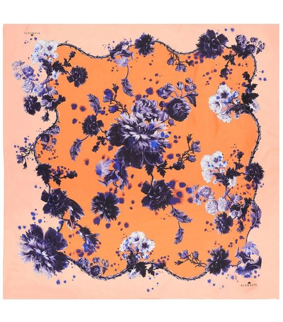 Платок Klements «Готические цветы» дынный, 140 x 140, шелк