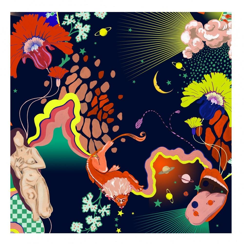 Платок Klements «Просветление», 140x140, шелк