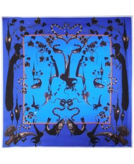 Платок Klements «Радужная форель», марокканский синий, 140x140, шелковый шифон