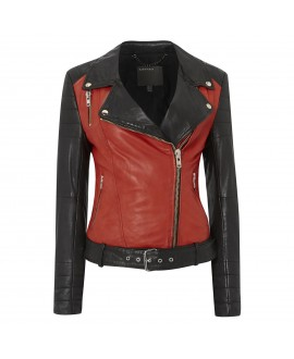Кожаная куртка Muubaa 'Anda' красно-чёрная