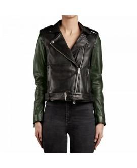 Кожаная куртка Muubaa Taimar черно-зеленая