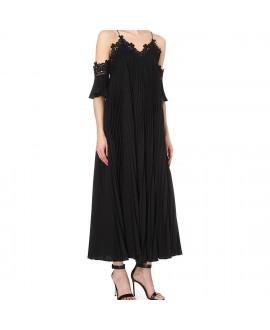 Платье черное Self Portrait с кружевом и плиссировкой