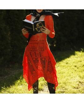Платье Sibling кружевное оранжевое