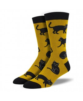 Мужские носки Socksmith «Черные коты» желтые бамбуковые