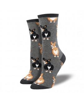 Женские носки Socksmith «Попа корги» серые