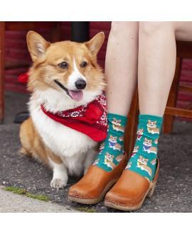 Женские носки Socksmith «Корги» бирюзовые