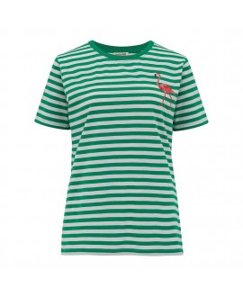 Футболка Sugarhill Brighton 'Maggie' в зеленую полоску с фламинго