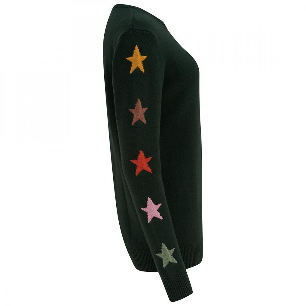 Джемпер Sugarhill Brighton 'Stacey' зеленый со звездами - Фото 3