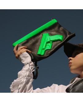 Клатч Vlieger & Vandam 'Guardian Angel Gun' черный с неоновым зеленым