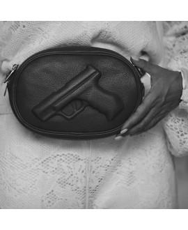 Сумка Vlieger & Vandam поясная овальная с пистолетом черная